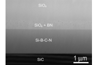 Crossection of Si-B-C-N coating after annealing in Air up to 1700°C